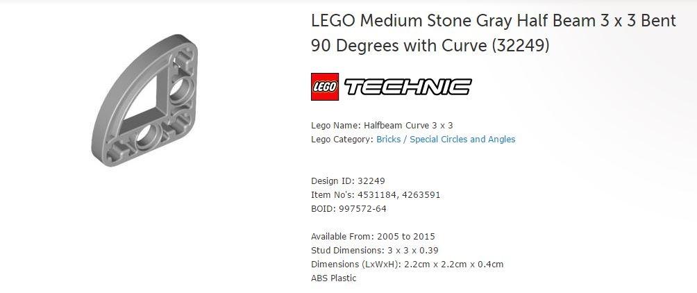 LEGO 32249 3x3 Halfbeam Curve 4531184