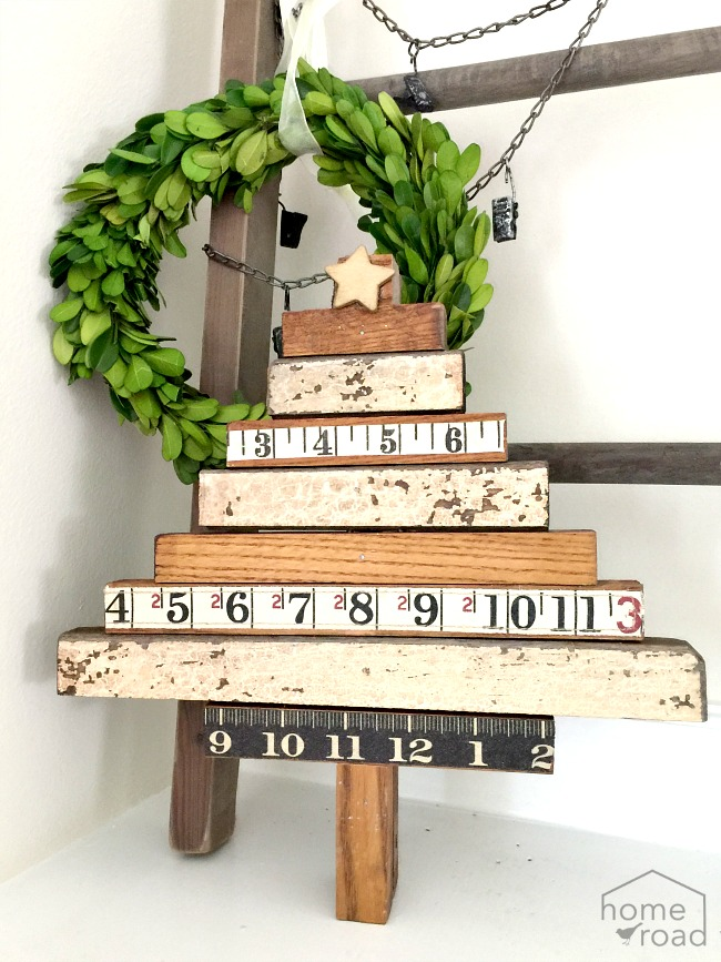 Repurposed Vintage Ruler Tree and a boxwood wreath