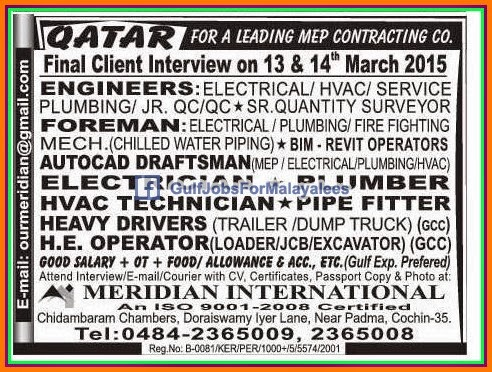 MEP Contracting Company jobs for Qatar - Gulf Jobs for