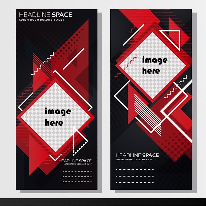 Business poster template modern dark flat geometric decor Free vector