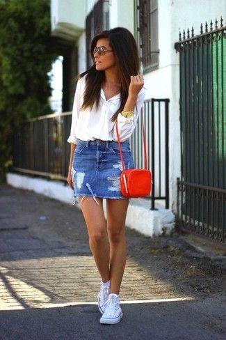 Ripped-Denim-Mini-Skirt