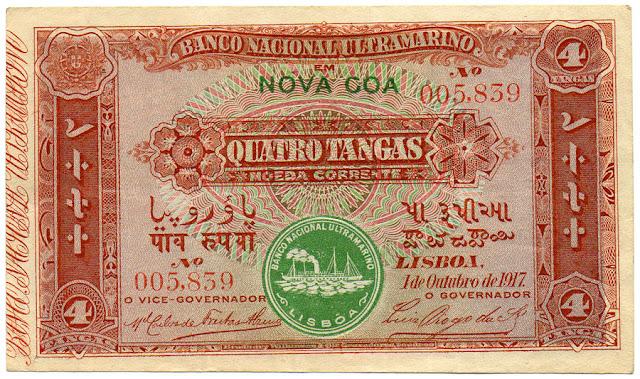 Portuguese India Banco Nacional Ultramarino Banknotes 4 Tangas notes