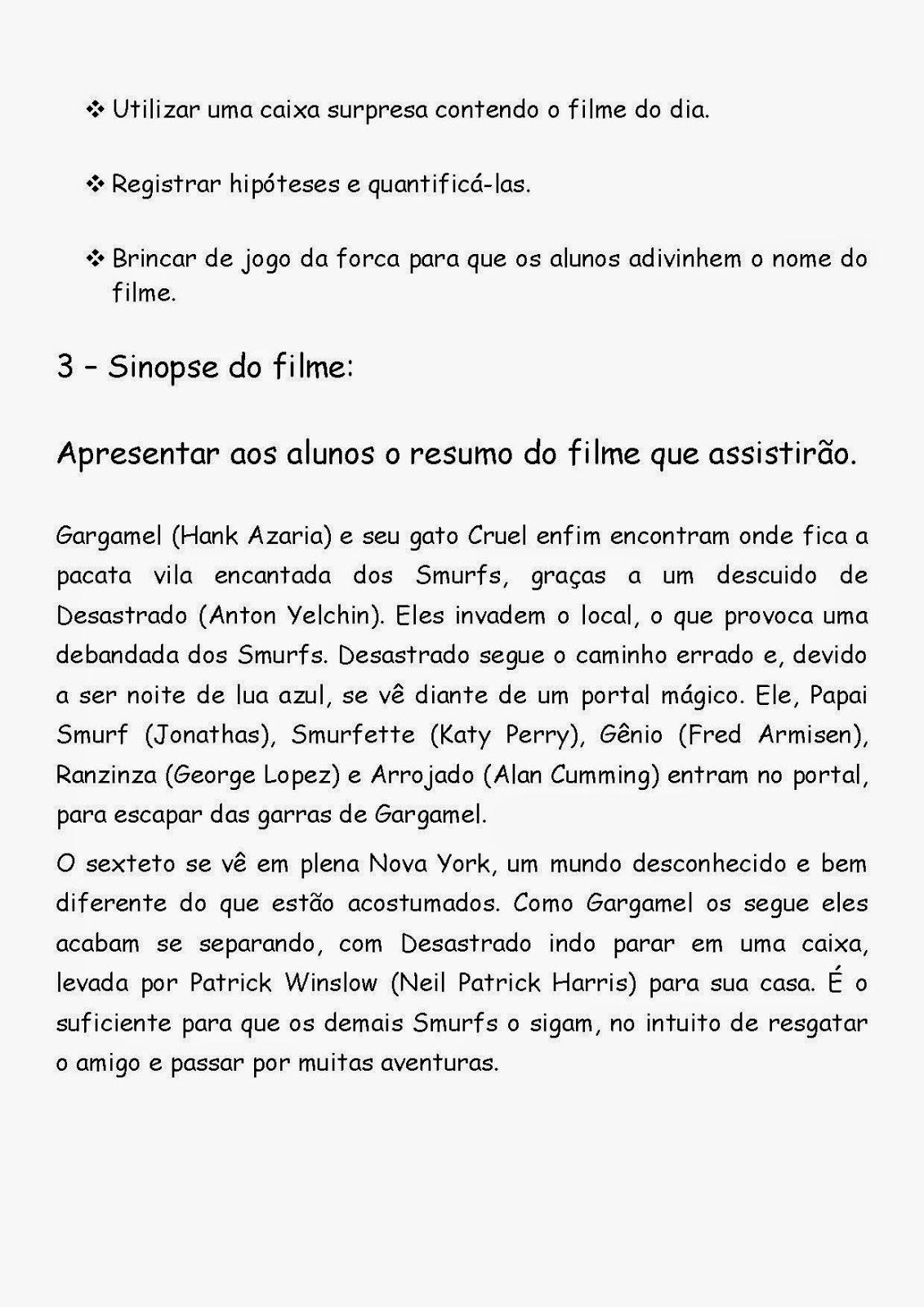 Educando Com Simplicidade Atividade Sobre O Filme Os Smurfs