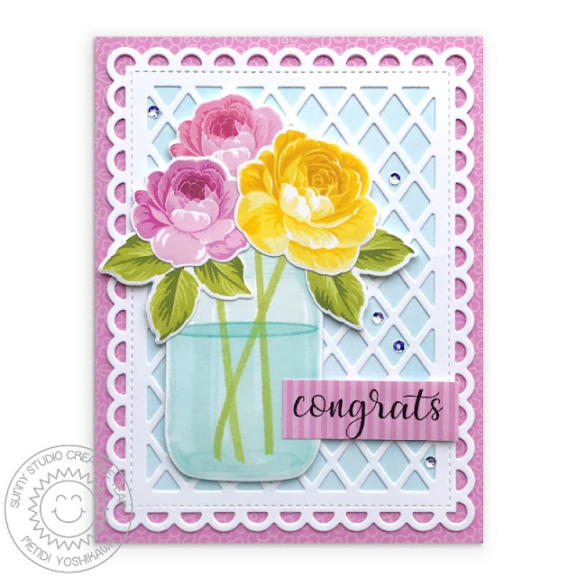 Sunny Studio Stamps: Everything's Rosy Congrats Rose Card (using Vintage Jar Stamps, Frilly Frames Lattice Dies & Flirty Flowers Paper)