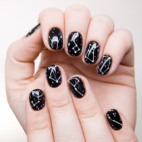 Constellation Nail Art by @chalkboardnails