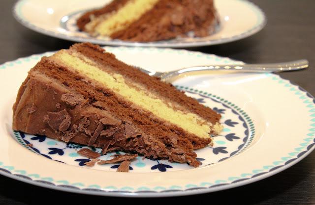 3 layer chocolate and vanilla sponge cake