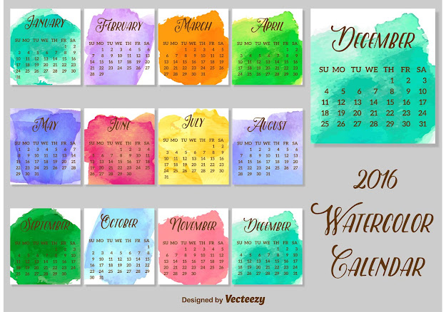 Watercolored Calendar Vector Template