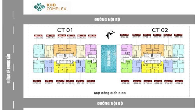 Mặt bằng tổng thể 2 tòa CT-01 và CT02 chung cư ICID Complex