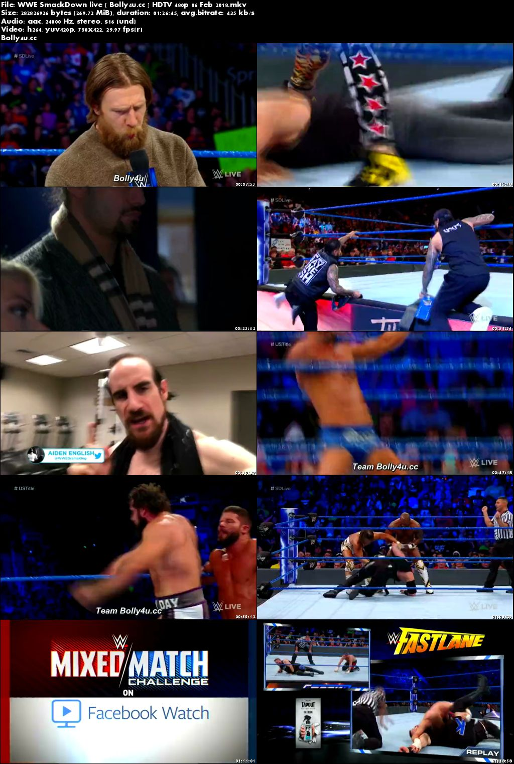 WWE SmackDown Live HDTV 480p 280MB 06 Feb 2018