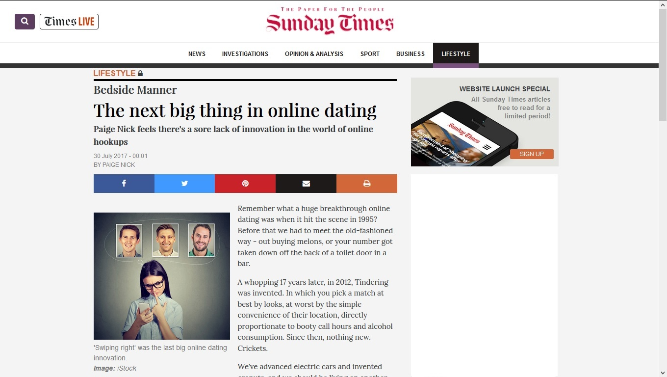 The sunday times online dating