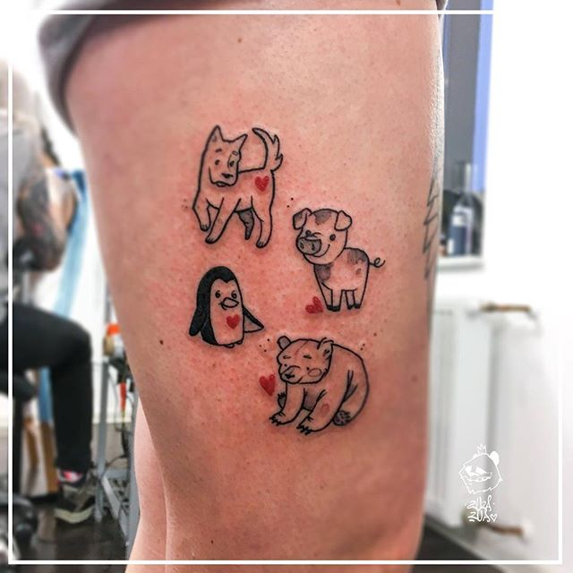 pig dog and penguin tattoo