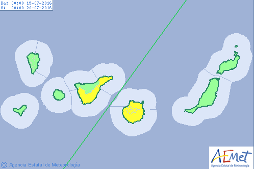aviso amarillo por altas temperaturas Gran Canaria, Tenerife, 19 julio