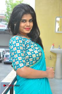 Telugu Actress Alekhya Stills in Green Saree at Swachh Hyderabad Cricket Press Meet  0034.JPG