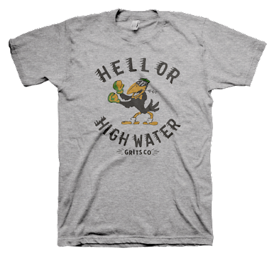 "Houston Flood Tribute T-Shirt ""Hell Or High Water"" by Grits Co."