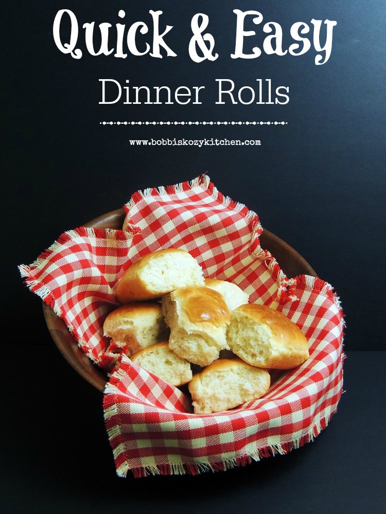This Quick and Easy Dinner Rolls recipe will have hot fluffy rolls on the table for dinner in no time flat! #bread #rolls #easy #baking #thanksgiving #christmas #easter #recipe | bobbiskozykitchen.com