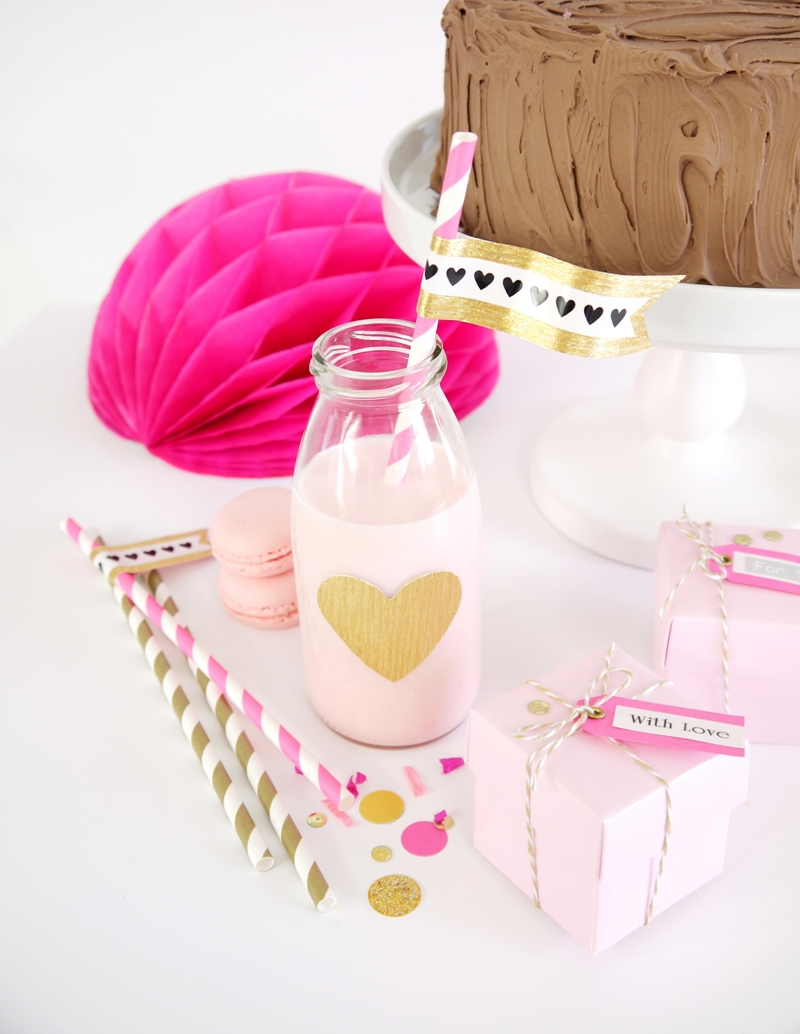 Pink & Gold DIY Birthday Party Decor - BirdsParty.com