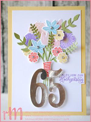 Stampin' Up! rosa Mädchen Kulmbach: Glückwunschkarte zur eisernen Hochzeit mit Blumenstrauß mit Blüten des Augenblicks