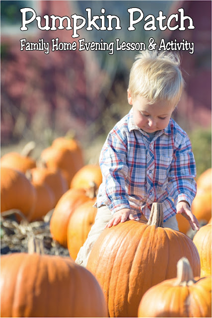 Teach your kids while having fun at the local pumpkin patch with this fall Family Home Evening lesson and activity. With all the ideas you'll need, you can have a fun family night activity with very little stress. #familynightactivity #familyhomeevening #fhe #diypartymomblog