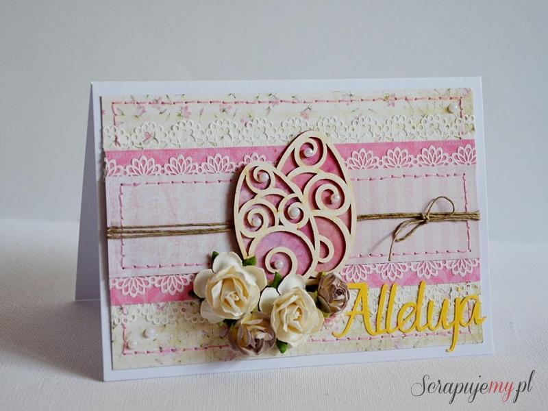 kartka wielkanocna różowa