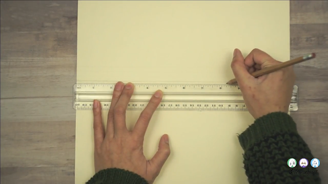 Ruler and pencil marking the length of a traveler's notebook on the spine of the manila folder