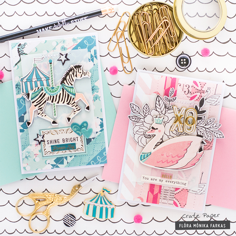 Monochromatic Cards made with Crate Paper Maggie Holmes Carousel Collection