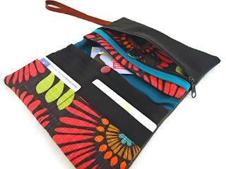 portefeuille rétro tissu grosses fleurs original fait main