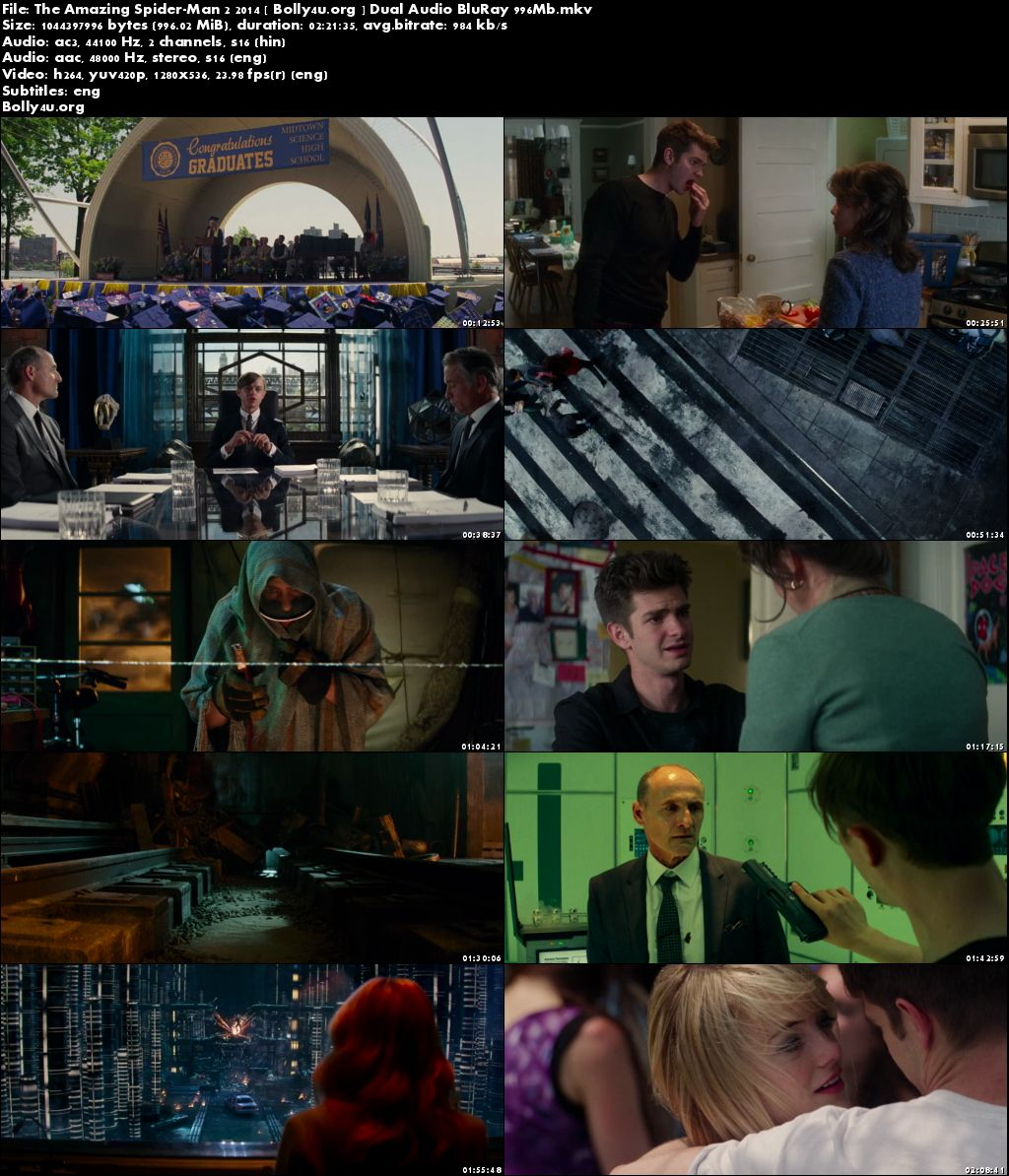 The Amazing Spider-Man 2 2014 BRRip 450MB Hindi Dual Audio 480p Download