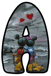 Abecedario de Minnie y Mickey Enamorados. Minnie and Mickey in Love Alphabet.
