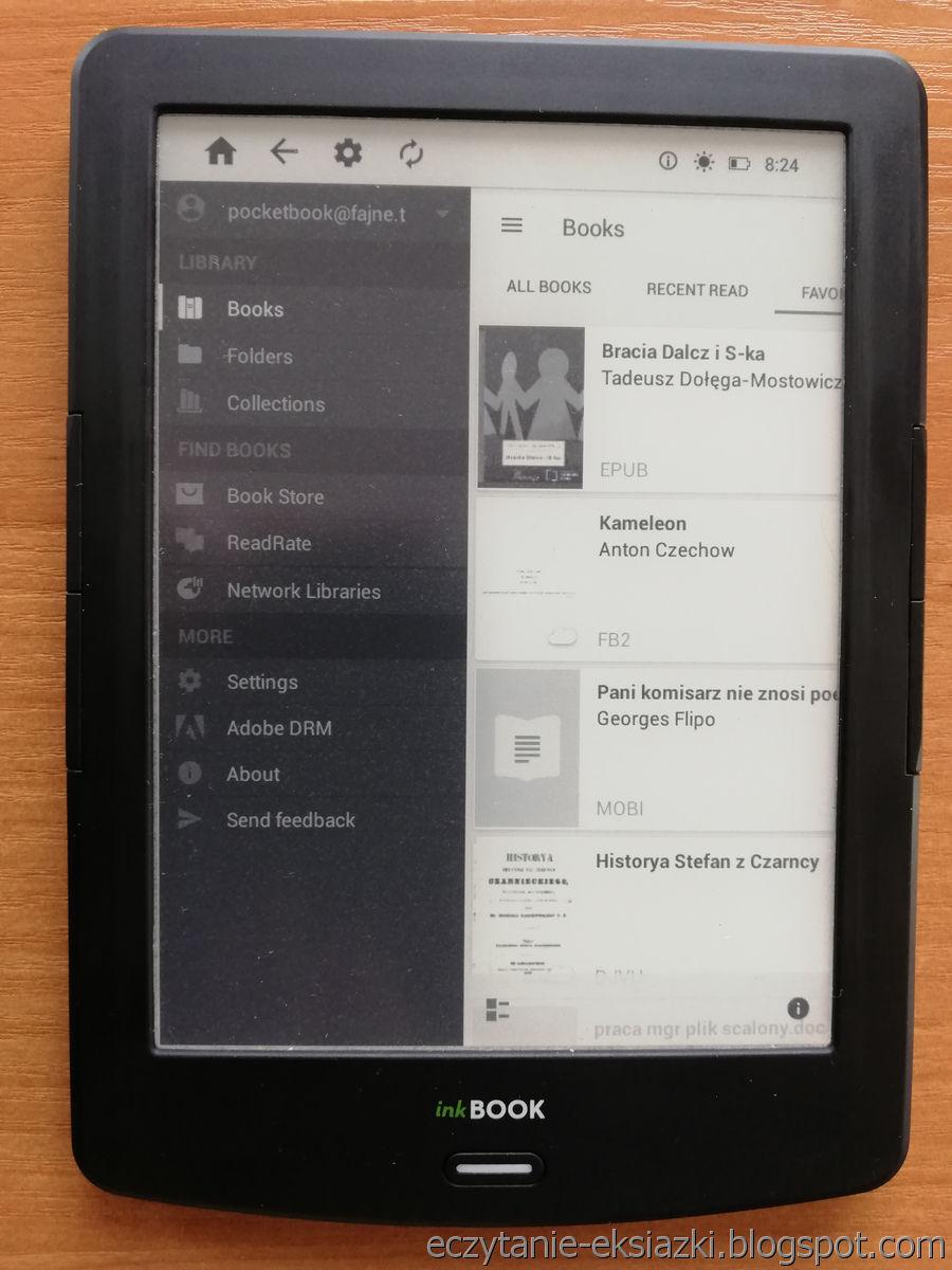 InkBOOK LUMOS – ustawienia aplikacji PocketBook Reader