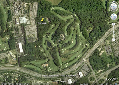 Proper Golf  News  Review  Deepdale Golf Club A Google Earth aerial photo of the current Deepdale layout by Dick Wilson  shows the excessive amount of sharp doglegs and the Long Island Expressway  which