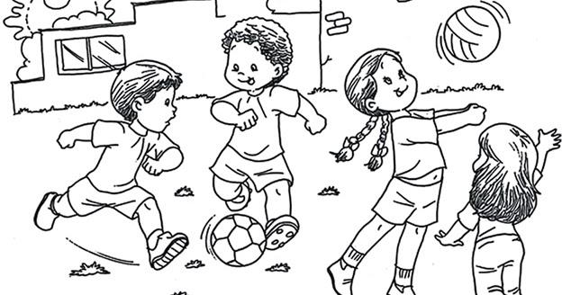 Niños Jugando Para Colorear