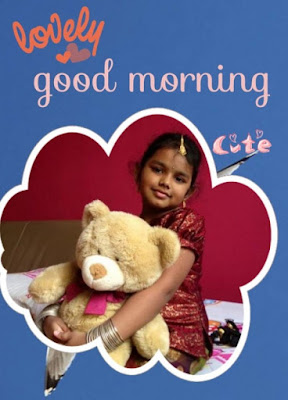 cute girl with teddy bear in hands for good morning whatsapp