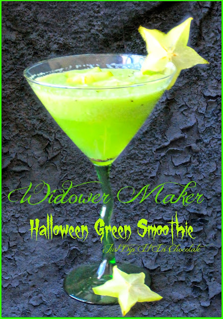 Widower Maker Halloween Green Smoothie, a refreshing and energizer drink with a beautiful green color for halloween!