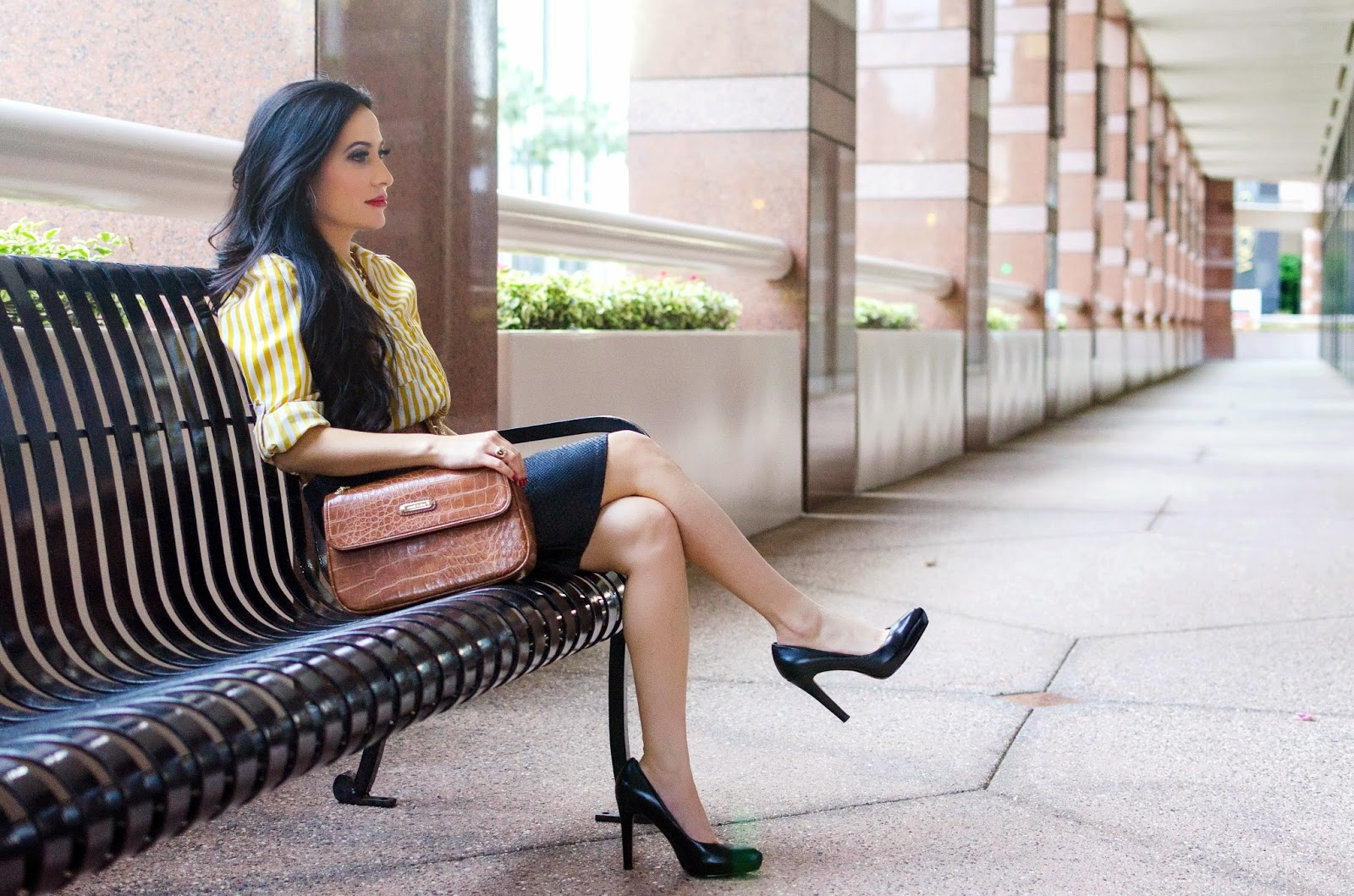 Striped Gold and White Shirt Anne Klein Brown Handbag Nine West Black High Heels St. Thomas Gold Link Necklace Leather Belt Olivaceous Black Python Print Pencil Skirt