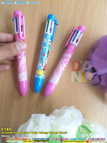 Souvenir Pen Dengan Tinta Pelangi Warna Warni
