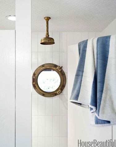 maritime porthole window in bathroom