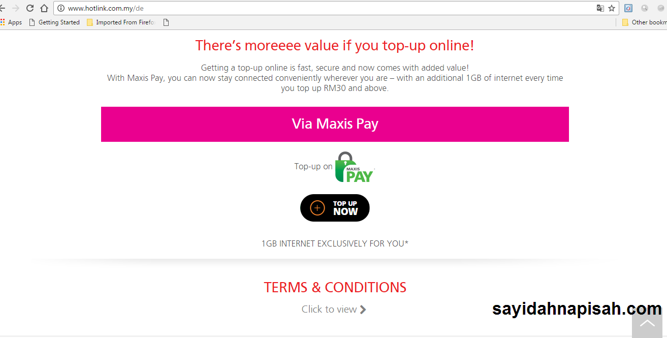 FREE 1GB INTERNET FOR EVERY TOPUP VIA MAXIS PAY