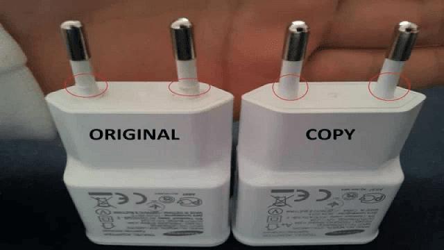 perbedaan charger asli dan palsu