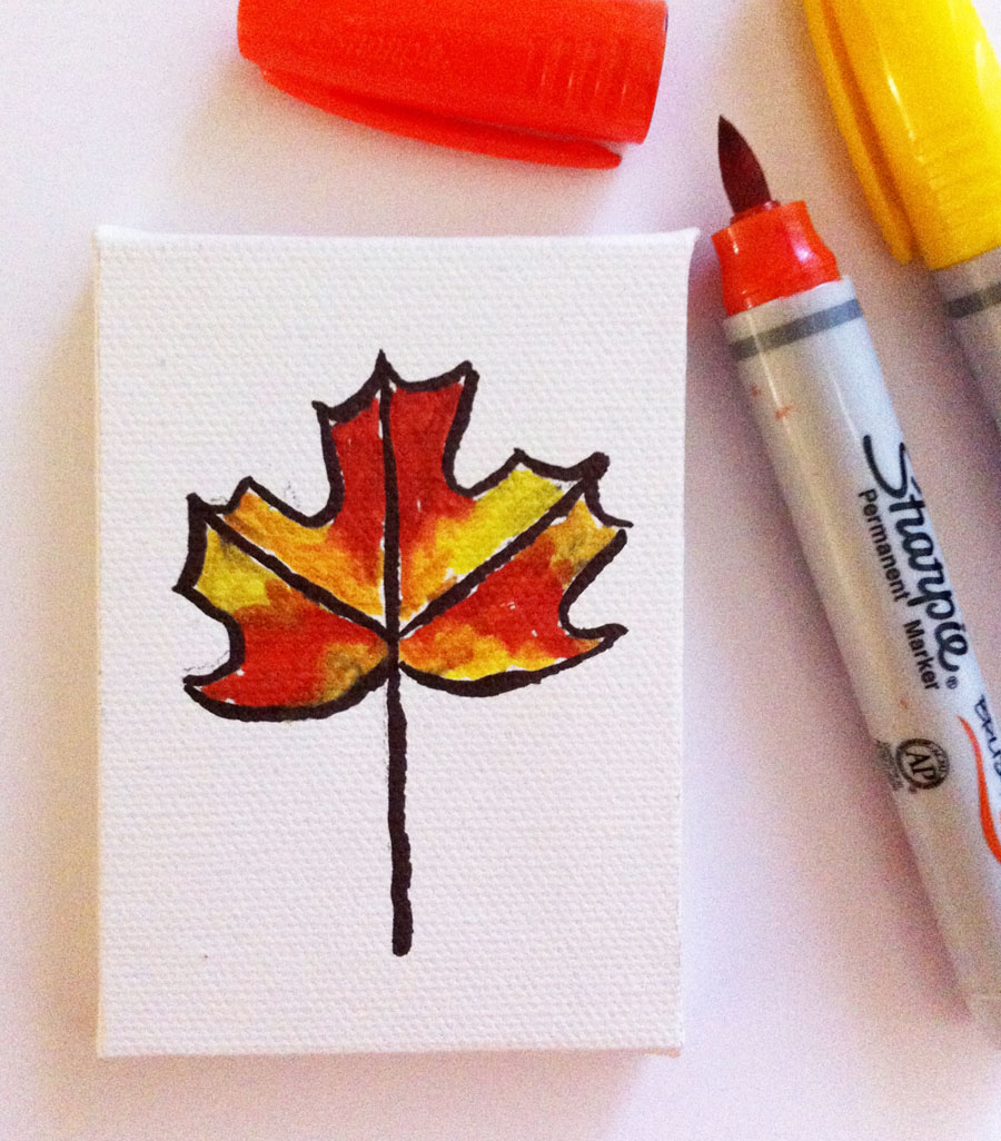Mini Canvas Leaf Art Projects For Kids