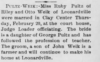 Newspaper clipping of Ruby Jemima Pultz Wedding