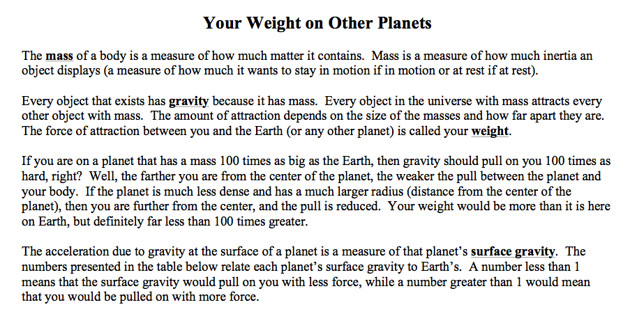 Weight On Other Planets Worksheet Aims (page 3) - Pics ...