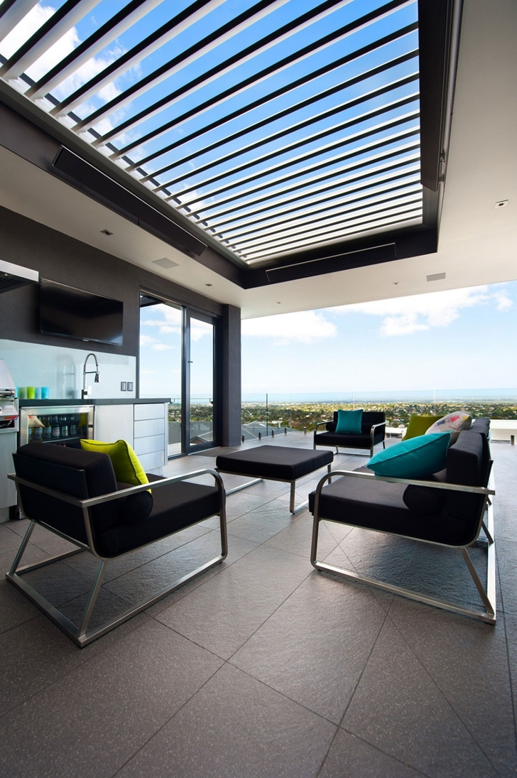 Modern terrace furniture in Dream home in black and blue