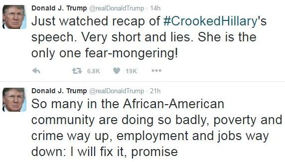 Donald Trump tweets again, blasts Clinton & promises to fix the African-American community!