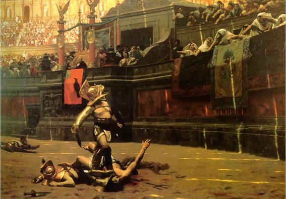 """Cuadro de Jean-Leon Gerome """"Pollice Verso"""". El Coliseo de Roma"""