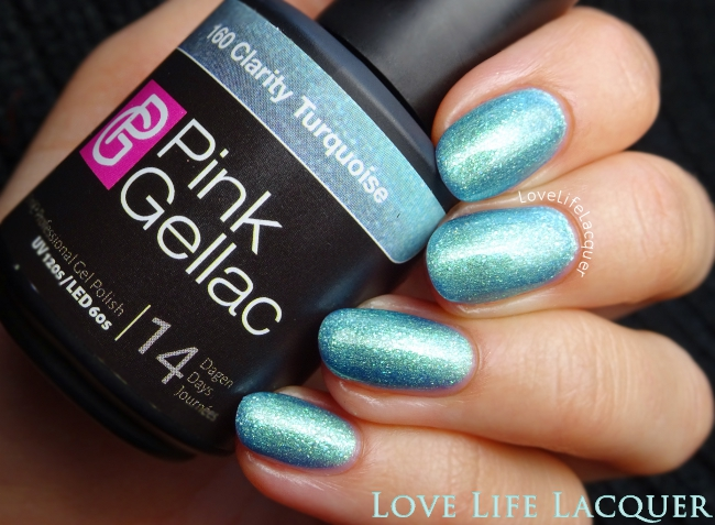 Pink Gellac Clarity Turquoise gel polish swatch
