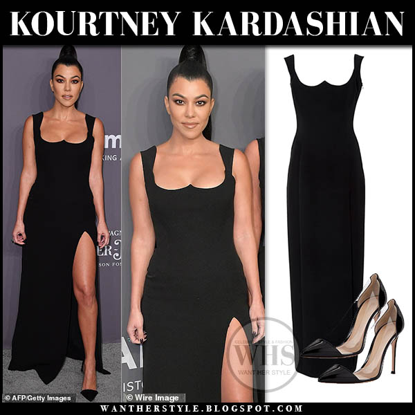 Kourtney Kardashian in black sleeveless high slit sweetheart neck versace evening dress amfar 2019 gala red carpet style