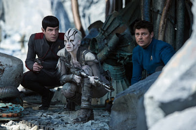 Zachary Quinto, Sophia Boutella, and Karl Urban in Star Trek Beyond