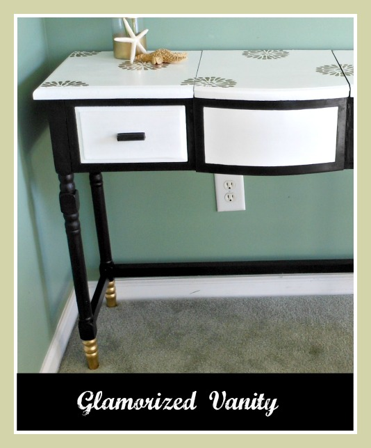 Vintage, Paint and more... an old vanity made glamorous by painting and adding gold dipped feet and stencils