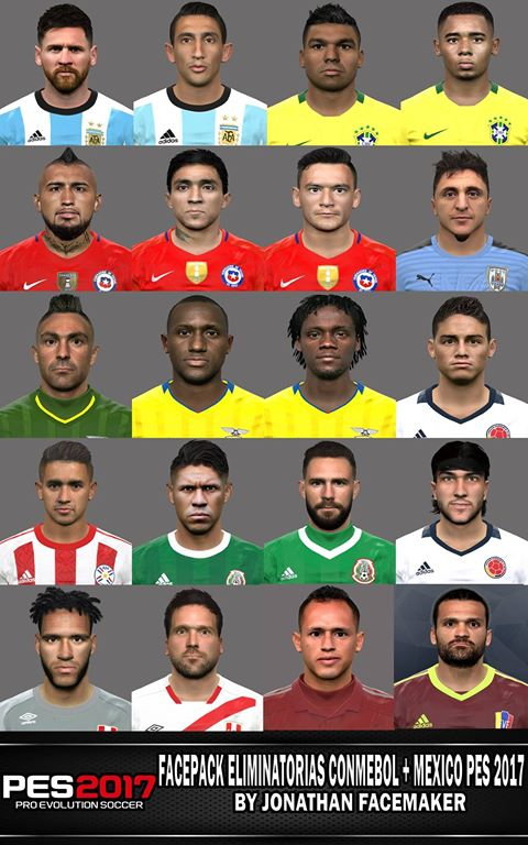 PES 2017 Facepack Eliminatorias Conmebol & México by Jonathan Facemaker