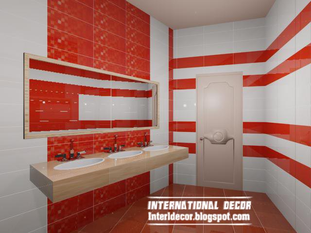 Modern red wall tile designs ideas for bathroom for Red and white bathroom decor